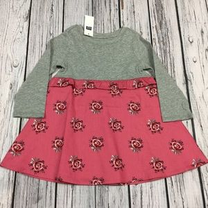 Gap Girls 2T or 4T Pink & Gray Floral Dress
